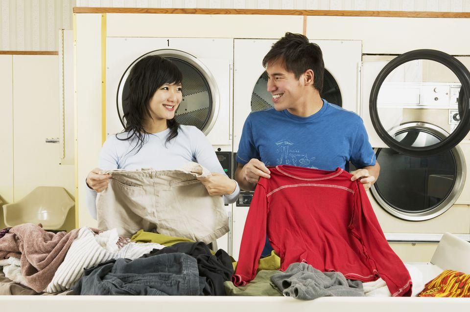 sort clothes laundry mat