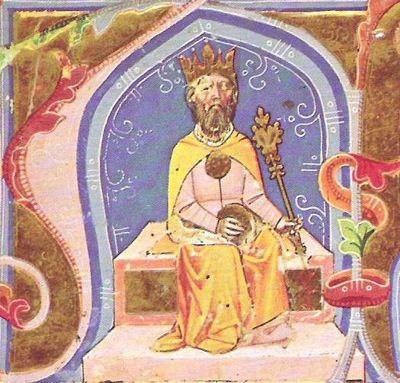 Attila. An illustration from the Chronicon Pictum, c. 1360.