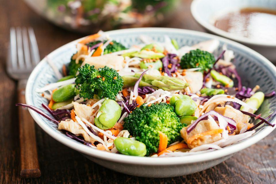 Ramen, broccoli, and chicken salad