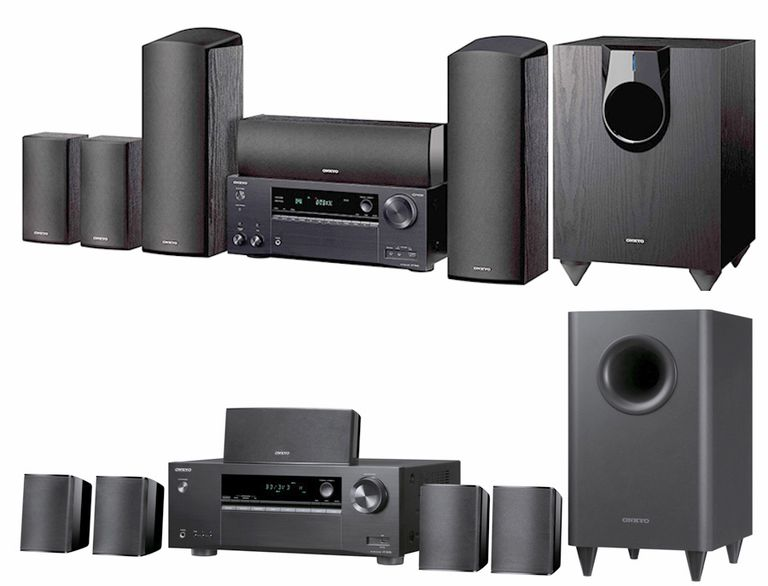 Onkyo HT-S3800 (bottom) and HT-S7800 (top) Home Theater-in-a-Box Systems