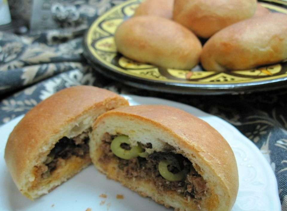 soft sandwich rolls with ground beef filling