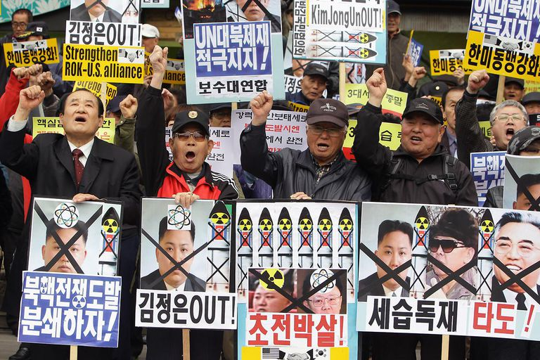 South Korean Protesters Demonstrate On North Korea Founder's Birthday