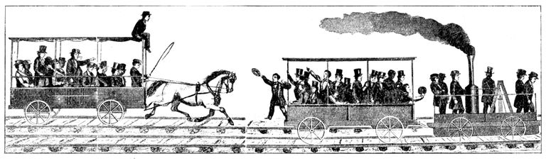 Etching of race between the Tom Thumb steam locomotive and a train pulled by a horse.