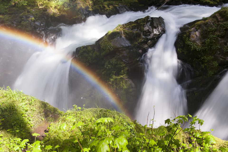 A rainbow over a waterfall in Olympic National Park