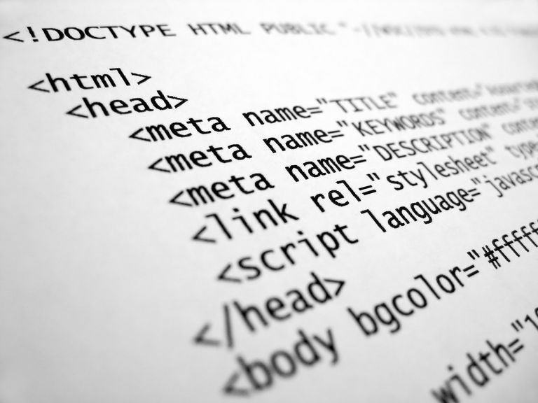 HTML tags coding a webpage