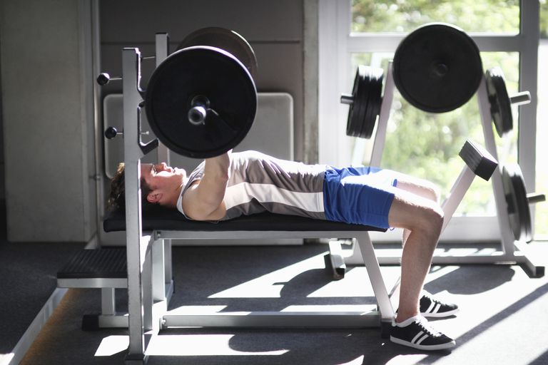 The bench press exercise.