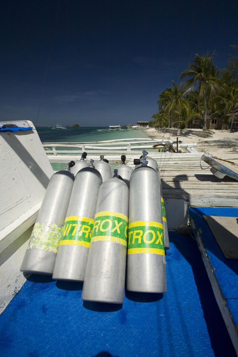 Nitrox tanks on diving boat, Island Malapascua, Cebu, Philipines