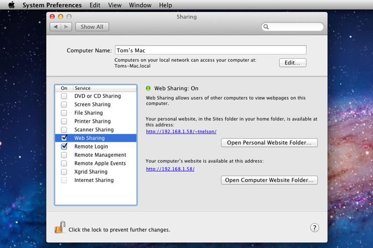 Web sharing options in OS X
