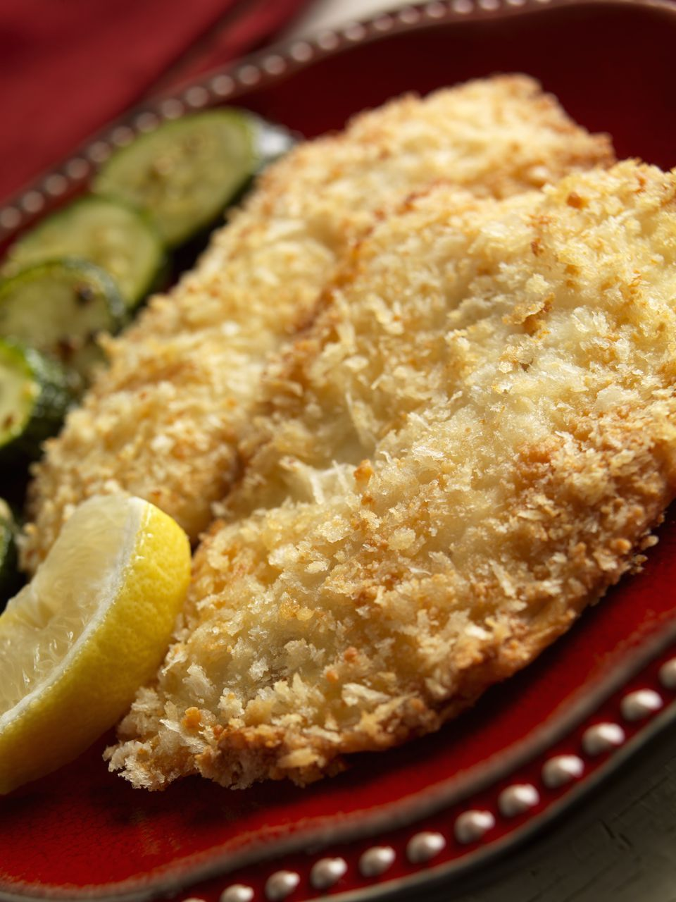 Baked fish coated with Panko and Parmesan