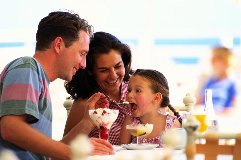 A family eating ice cream
