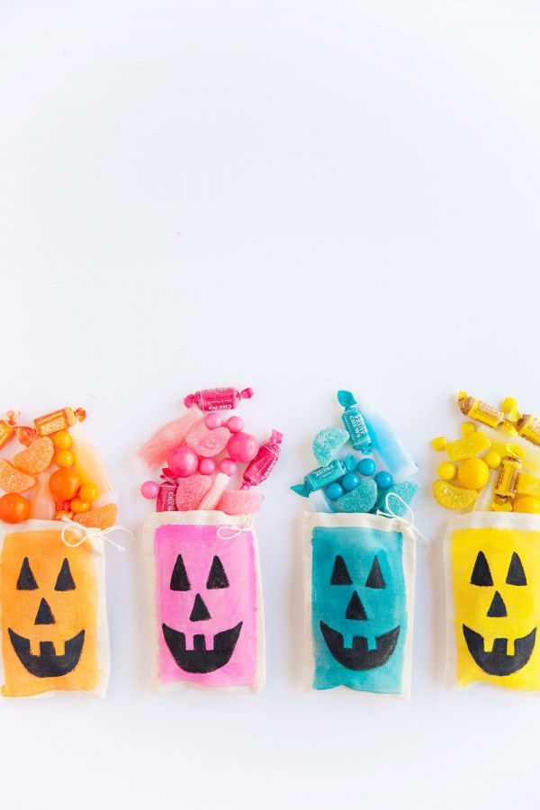 Colorful Jack-O-Lantern Treat Bags