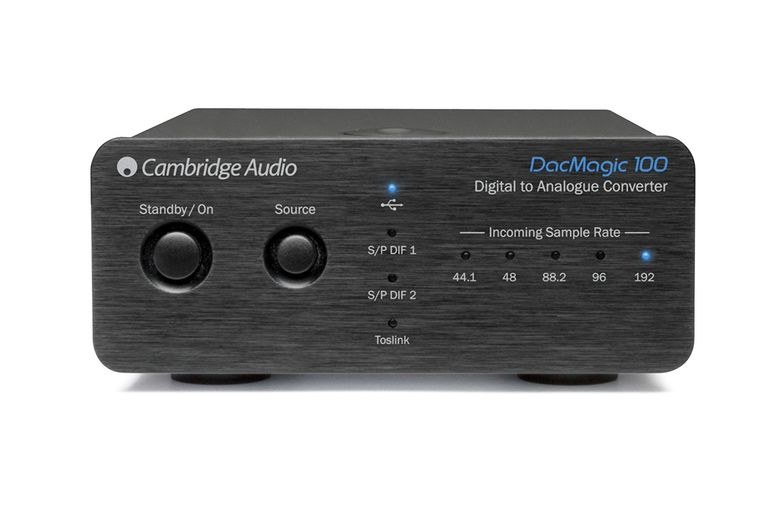 The front side of the Cambridge Audio DacMagic 100 digital-to-analog converter