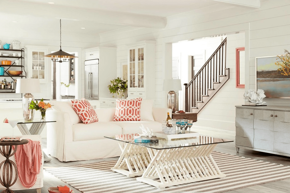 white beach house interiors. White beach house living room with pink accents 20 Beautiful Beach House Living Room Ideas