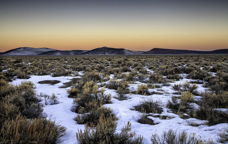 A frigid winter dawn near Pine Mountain east of Bend, Oregon, in the area known as 'The Badlands.'