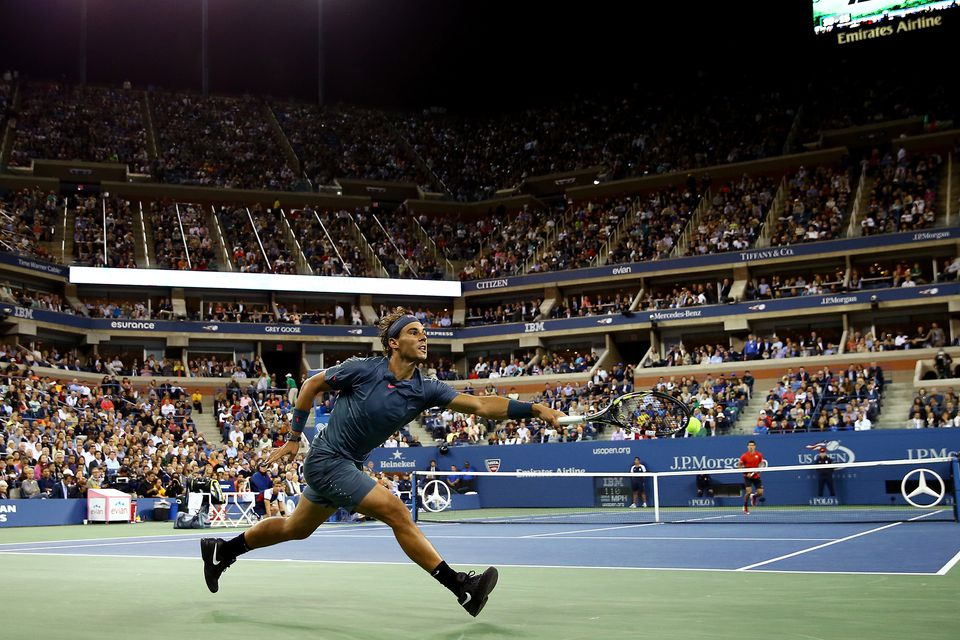 Rafael Nadal of Spain during his men's singles final match against Novak Djokovic of Serbia on Day Fifteen of the 2013 US Open