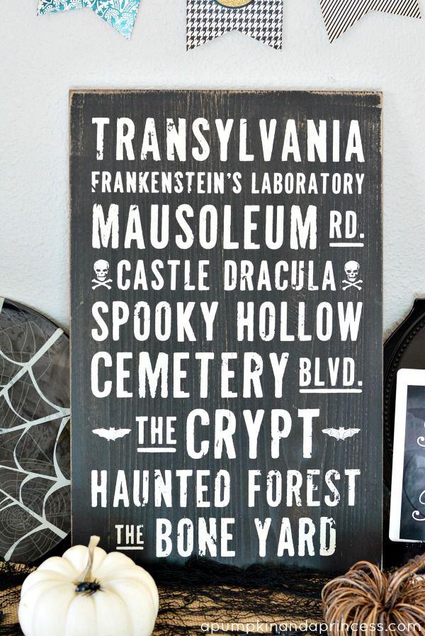 DIY Halloween Subway Art Sign