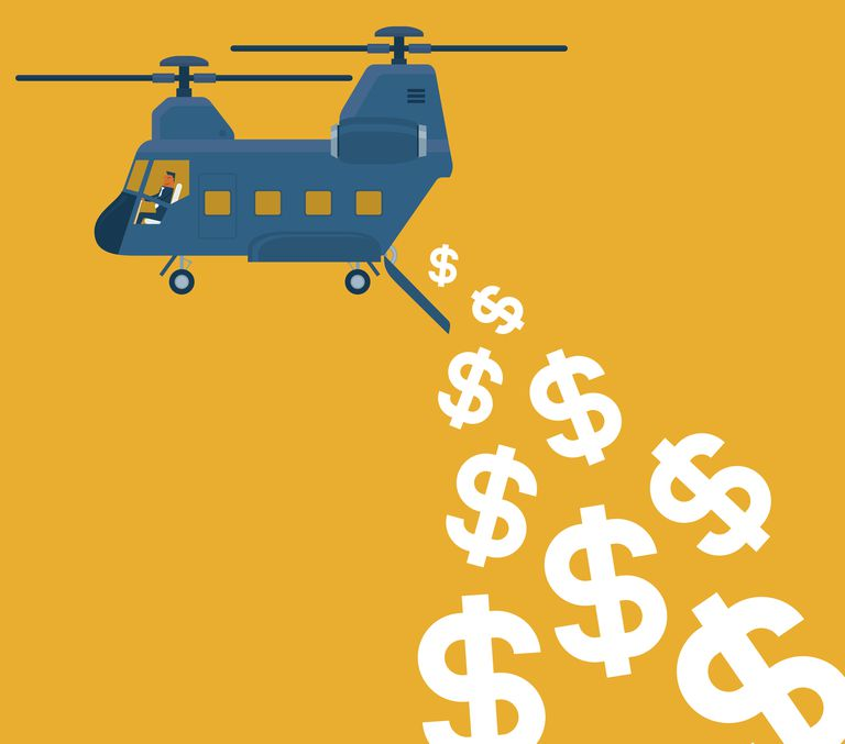 Helicopter creating inflation