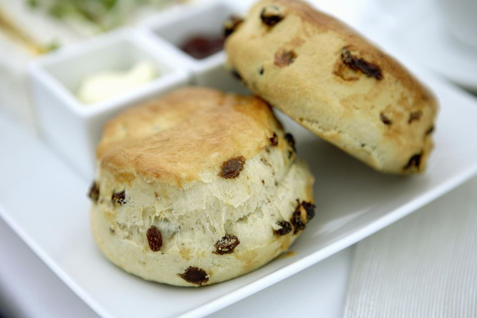 Raisin scones with jam and clotted cream on white plate, close-up