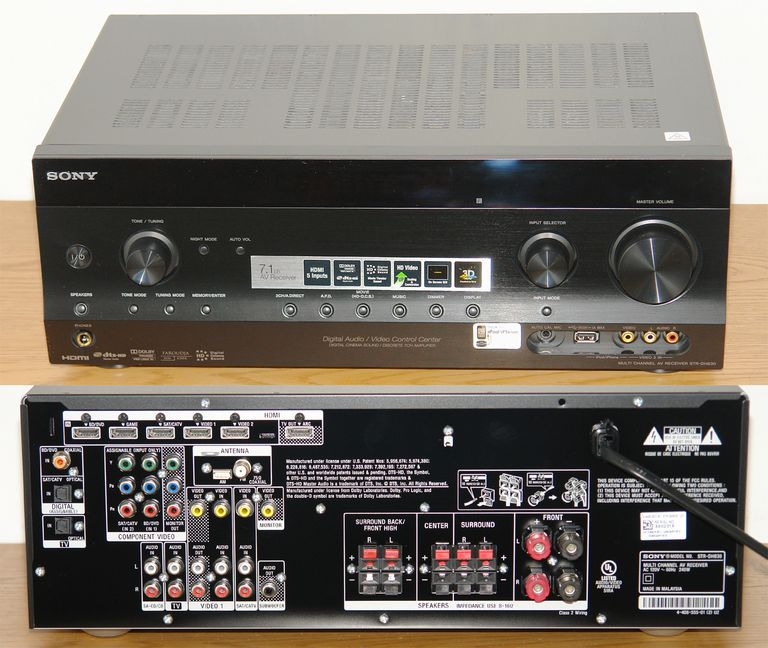 Sony STR-DH830 7.1 Channel Home Theater Receiver - Front and Rear Views