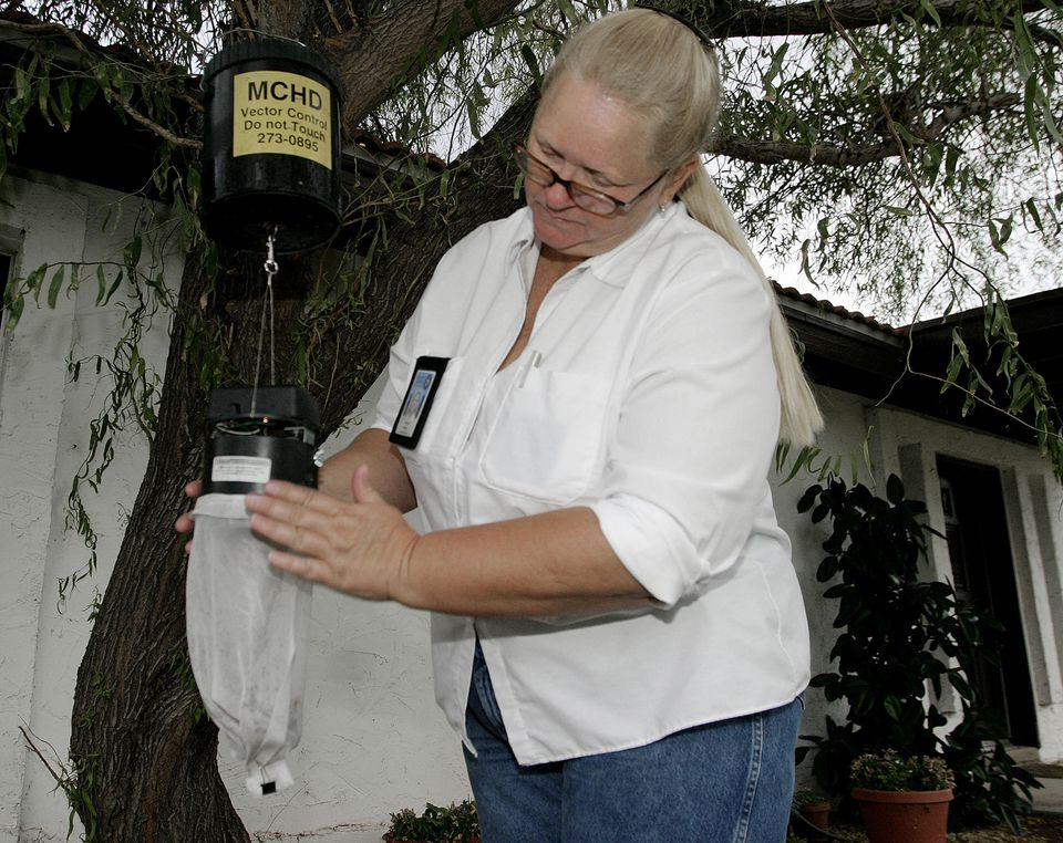 A Maricopa County Vector Control officer removes a mosquito trap near a home in Gilbert. The mosquitos are tested for the West Nile virus at the Arizona Department of Health Services laboratory in Phoenix.