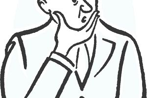 Drawing of a confused man with his hand on his chin