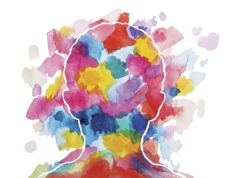 Colorful swatches on outline of human head