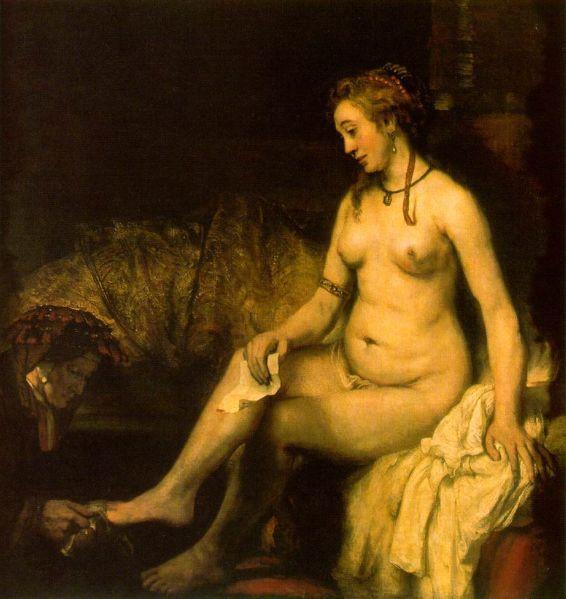 Bathsheba in her Bath, by Rembrandt, 1654.