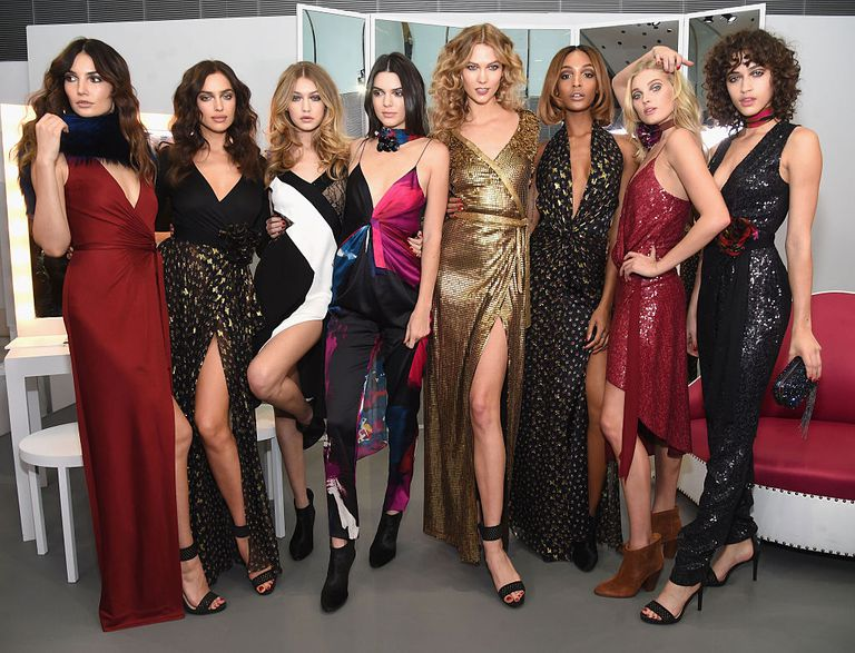 Lily Aldridge, Irina Shayk, Gigi Hadid, Kendall Jenner, Karlie Kloss, Jourdan Dunn, Elsa Hosk and Alanna Arrington pose in the Diane Von Furstenberg Fall 2016 show during New York Fashion Week on February 14, 2016 in New York City.