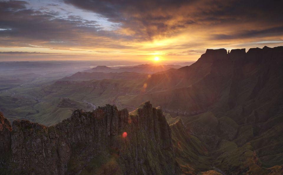 Sunrise over the Drakensberg mountains