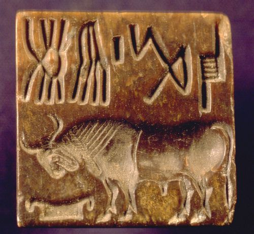 Examples of the 4500 year old Indus script on seals and tablets