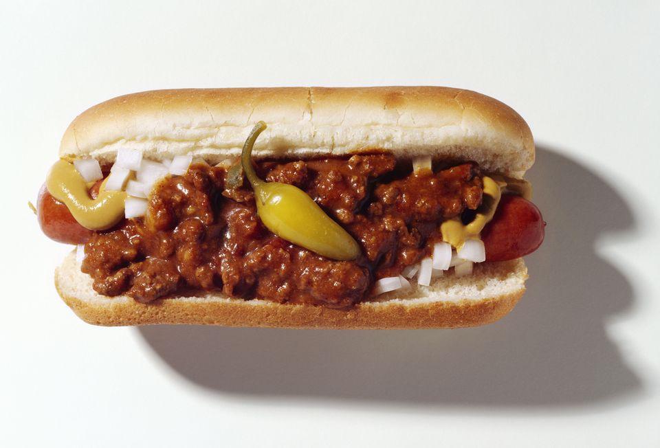 Hot dog with chili sauce