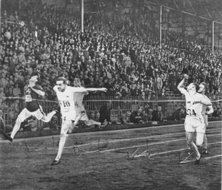 Harold Abrahams winning gold at the 1924 Olympics in Paris.