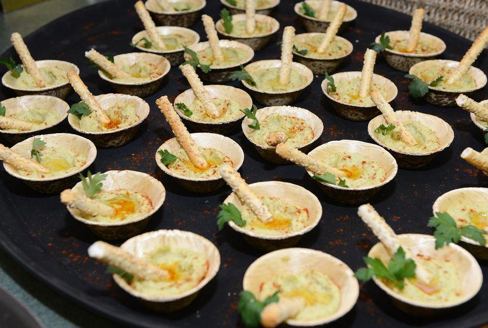 Bowls of avocado hummus