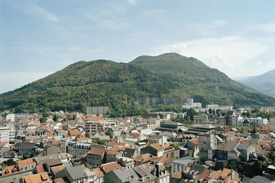Lourdes city, aerial view