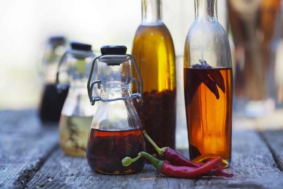 chili pepper oil in bottles