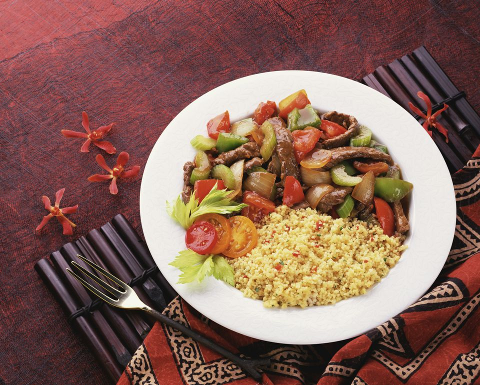 Mexican rice served with beef and vegetables