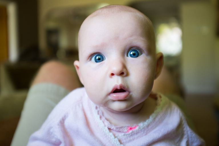 It takes a while before melanin is deposited fully in human eyes, so babies often have pale or blue eyes, even though their eyes may change color later in life.