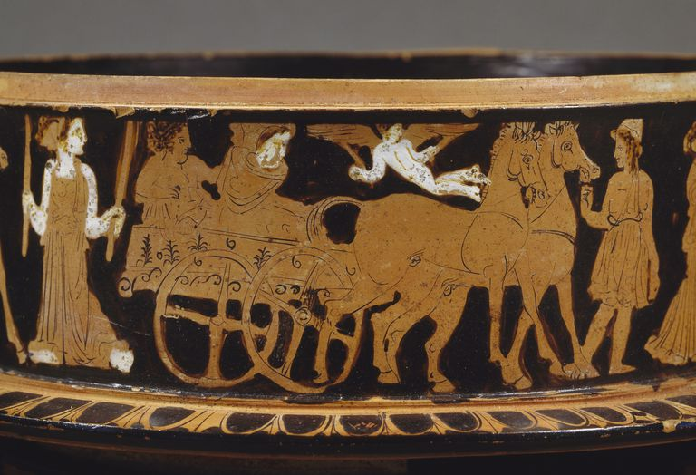 Wedding wagon, detail from ciborium with red figures, Greek civilization, 5th century BC