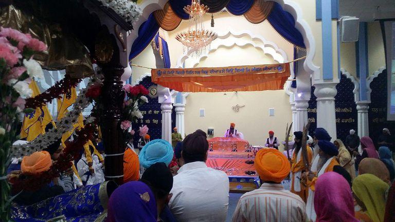 Guru Granth Sahib at San Jose Gurdwara