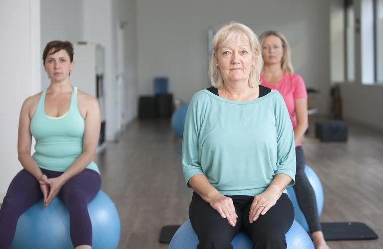 Women sitting on exercise balls