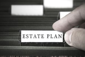 Estate plan file in a filing cabinet