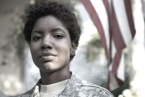 Portrait of female African American soldier in uniform