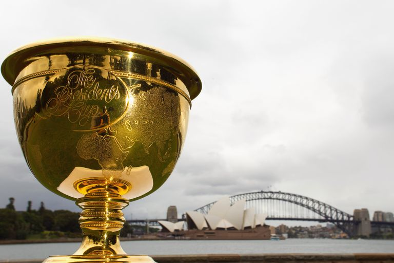 The Presidents Cup trophy in Australia