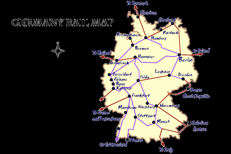 germany rail map and transportation guide tripsavvygermany cities map and travel guide tripsavvytrain germany trains map pass timetables and fares