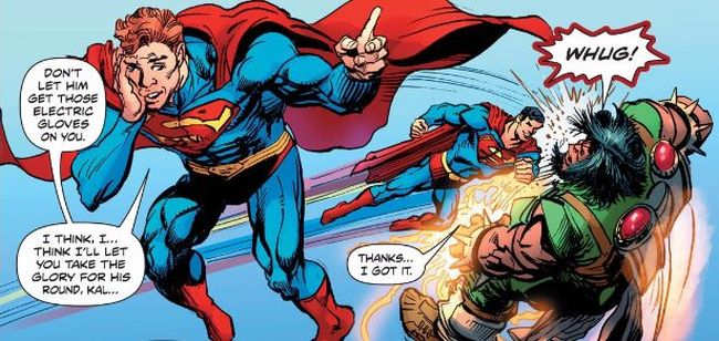 Comic panel of Superman: Coming of the Supermen #2