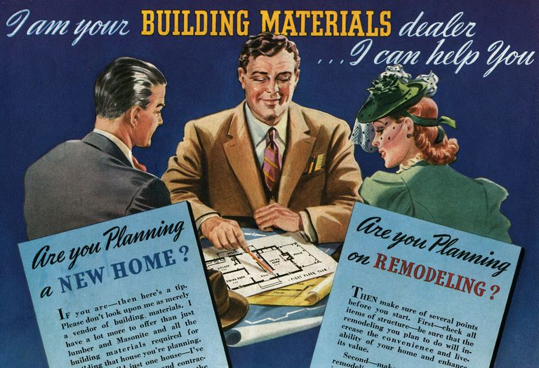 1950s couple planning a new home