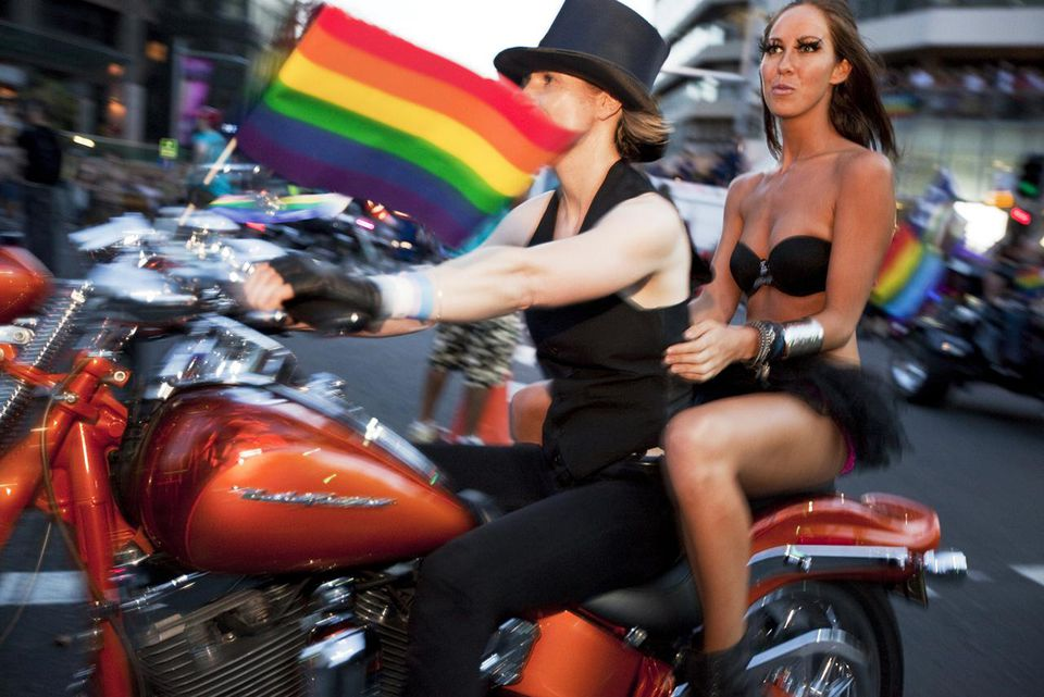 The famous Dikes on Bikes start the Sydney Mardi Gras parade.