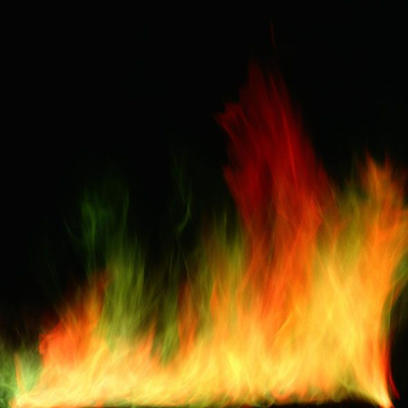 Applying metal salts to a fire will allow you to produce colored flames.