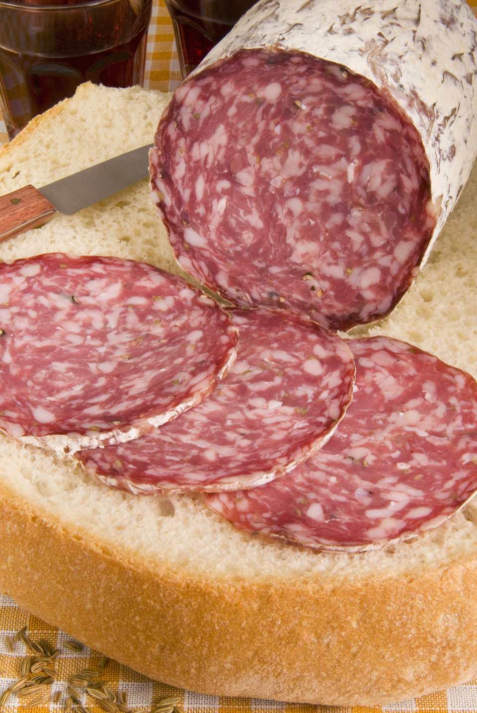 Finocchiona, Tuscan salami, with Tuscan bread