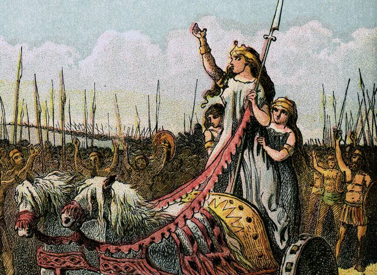 """""""Boadicea and Her Army"""" 1850 Engraving"""
